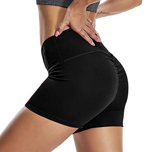 YOFIT Women Yoga Shorts Ruched Butt Sport Gym Push up Running Elastic High Waist Shorts Butt Lifting Hot Pants #1 Black - Butt Shorts