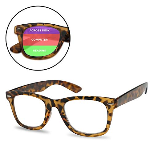 Classic Retro MultiFocus Readers - 3 Powers in 1 Trifocal Reading Glasses (Tortoise Frame, ()