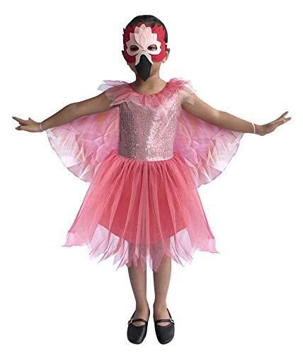 (So Sydney Deluxe Girls Flamingo Costume & Accessories, Kid Toddler Pink Bird Halloween Dress-Up (M (5/6), Flamingo)