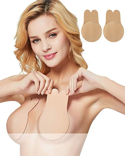 Women Breast Lift Petals Pasties Nipplecovers Strapless Backless Bra Adhesive Wedding Dress Bras Beige Medium