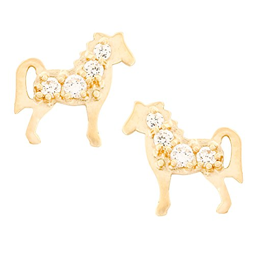 14K Yellow Gold Horse Stud Kids Earrings With Safety Screw Backs (yellow-gold) -