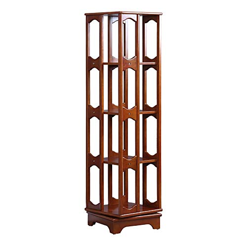 YUEQISONG 4 Tier Bookshelf Revolving Bookcase,100% Wood, 360 Rotating Organizer Cabinet Rack, Holds up to 300 DVD's or Books, Spinning Design, Walnut