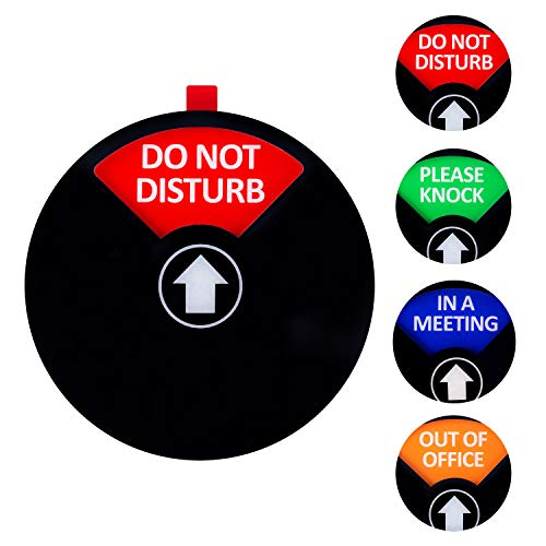 Kichwit Privacy Sign, Do Not Disturb Sign, Out of Office Sign, Please Knock Sign, in a Meeting Sign, Office Sign, Conference Sign for Offices, 5 Inch, Black ()