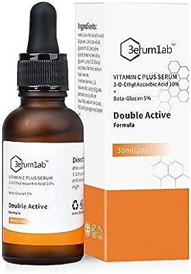 Suero de vitamina C para la cara y la piel, ingredientes activos dobles únicos de 10% vitamina C y 5% beta, reduce las arrugas, líneas finas, ...