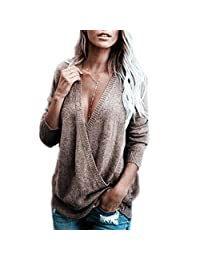 S.Charma Women's Knit Deep V-Neck Cross Sweater Wrap Front Loose Pullover Shirt