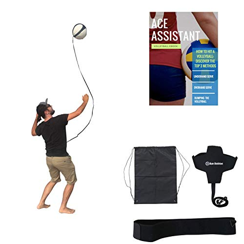 Volleyball Training Equipment Ball Rebounder Aid For Solo Practice Tossing Up Overhand Serves and Hitting Spikes | Tether Returns Volley Ball To You | Includes Instructional eBook And Drawstring Bag
