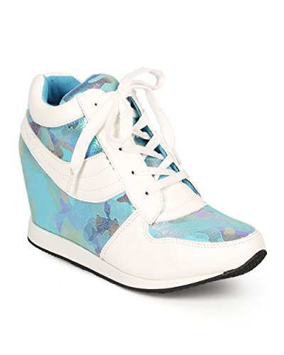 DbDk CI03 Women Iridescent Leatherette Camouflage Wedge Fashion Sneaker – Blue (Size: 7.5)