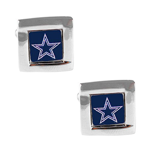 NFL Dallas Cowboys Square Cufflinks with Square Shape Logo Design Gift Box Set