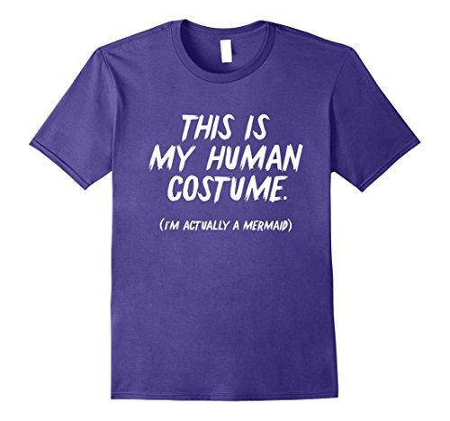 Mermaid Merman Costume (Mens Funny 'This is my human costume - I'm actually a Mermaid' 2XL Purple)