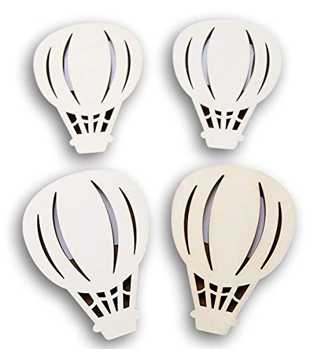 Natural Unpainted Wood Cutout - Hot Air Balloon Shape - Set of -