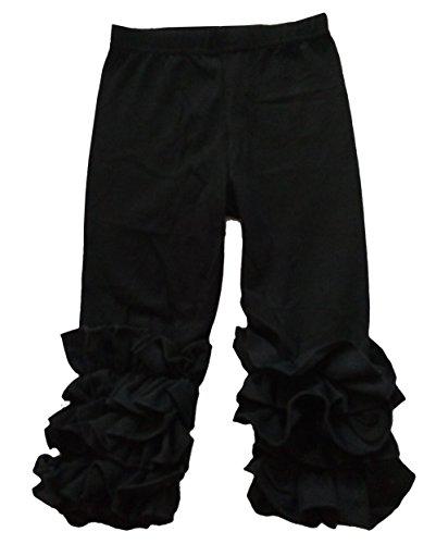 Little Girls Ruffle Pants Icing Solid Cotton Pant, Black, XS