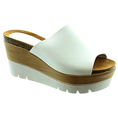 8c27e0d3fac2 Yokono - Dialey 002 Wedge Mule Sandals in White