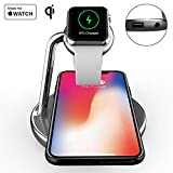 Mangotek Wireless Phone Watch Charger Station,3 in 1 Charging Pad Stand for iPhone 8/8 Plus/X/X Max/XR and Apple Watch iWatch 4/3/2/1, 38mm/40mm/42mm/44mm, Mfi Certificated