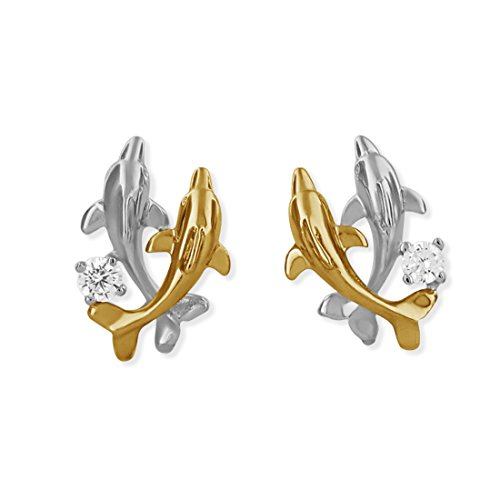 Sterling Silver with 14kt Yellow Gold Plated Accents Double Dolphin Stud Earrings