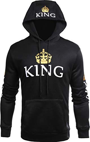 Queen e Pullover allentata nera King Felpa cappuccio con da felpa lunghe con cappuccio Stampa uomo con Socluer invernale Felpa maniche cappuccio con Oqg0x