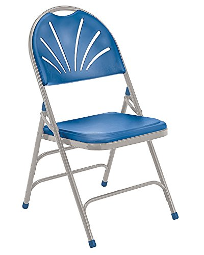 (National Public Seating 1100 Series Steel Frame Polyfold Fan Back Double Hinge Folding Chair with Triple Brace, 480 lbs Capacity, Blue/Gray (Carton of 4))