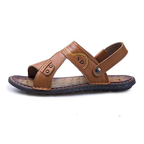 in uomo Marrone regolabili schienale vera Pantofole EU Casual da Orange spiaggia BINODA pelle senza 39 sandali Color Sandali da piatti morbidi Dimensione antiscivolo nxWA8qW6Iy