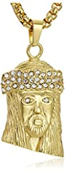 Men's 18k Gold Plated Stainless Steel Men's Face Pendant with Simulated Diamonds Accents Pendant Necklace,30""