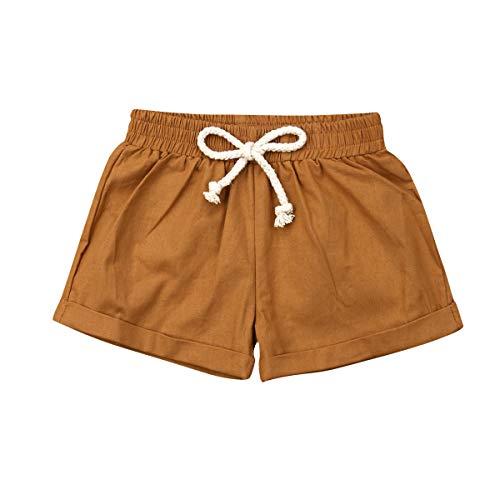 BULINGNA Baby Girl Boy Cotton Drawstring Shorts Harem Pants Joggers Elastic Waist Bottoms Bloomers (Brown, 2-3T)