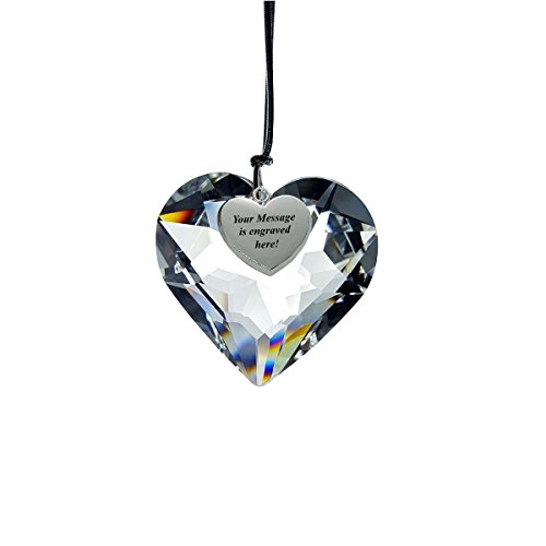 Crystal Full Lead 50 MM Heart Ornament with Personalized Silver Heart Tag ()