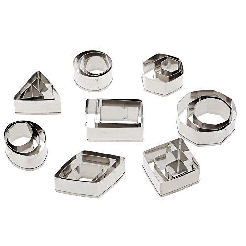 Yosoo 24Pcs Kitchen DIY Mini Shapes Cutters, Circle Hexagon Shape (Tone Metal Leaf)