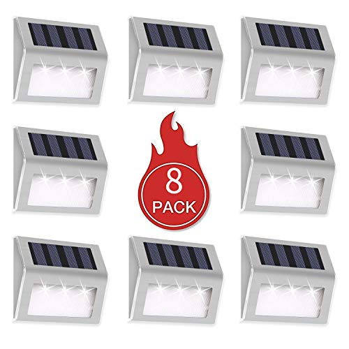 INCX Solar Deck Lights, 3 LED Solar Step Lights Outdoor Auto On/Off Stainless Steel Solar Stair Lights Waterproof Wireless Solar Powered Lights for Fence Patio Garden Pathway - White Light 8 Pack (& Garden Fence)