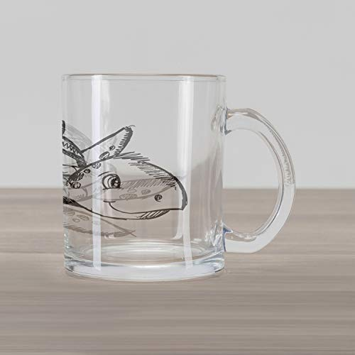 Ambesonne Sketch Art Glass Mug, Hand Drawing Themed Illustration of Sea Turtle Underwater Animal, Printed Clear Glass Coffee Mug Cup for Beverages, 15 oz, Charcoal Grey and White
