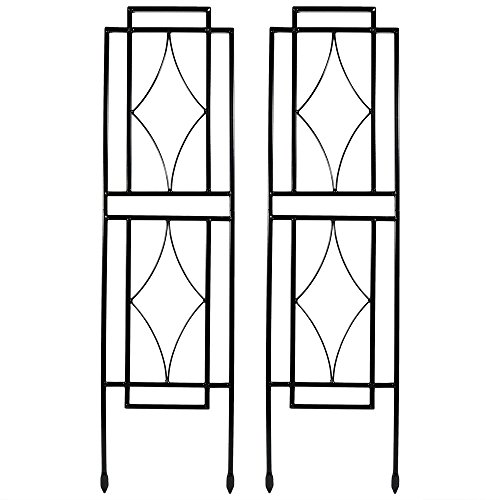 Sunnydaze 30 Inch Contemporary Garden Trellis for Climbing Plants, Set of 2 by Sunnydaze Decor