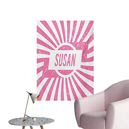 Anzhutwelve Susan Art Decor Decals Stickers Female Name with Grunge Effect Birthday Girl Celebration Striped BackdropPale Pink and White W32 xL36 Cool Poster ()
