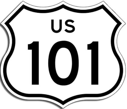 US Highway 101 Sign Shaped Sticker (California Hollywood Freeway)