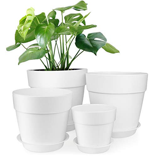 HOMENOTE 7/6.5/5/3.7 inch Plastic Planters Indoor Set of 4 White Plant Pots with Drainage Trays Modern Round Flower pots for House Plants, Succulents, - 7 Inch Planter