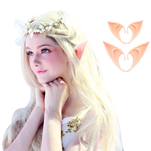 COCOPLAZA 2 Pairs Fairy Pixie Elf Cosplay Accessories Halloween Party Anime Party Costume Latex Elf Ears (2Pairs) -