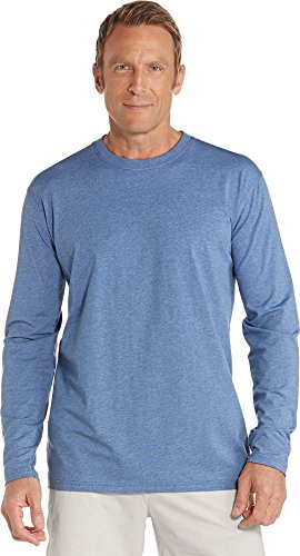 Coolibar UPF 50+ Men's Long Sleeve T-Shirt - Sun Protective (X-Large- Pacific Heather)