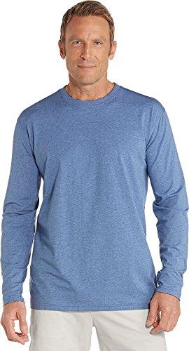 Coolibar UPF 50+ Men's Long Sleeve Everyday T-Shirt - Sun Protective (XX-Large- Pacific Blue Heather)
