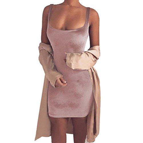 Winhurn Sexy Women Sleeveless Artificial Velvet Short Evening Party Dress (S, Pink)