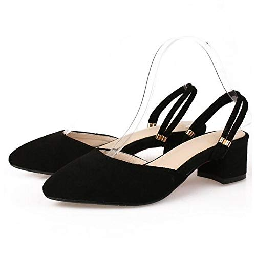 ZHZNVX Zapatos de Mujer Suede Spring Comfort Tacones Chunky Heel Black/Red / Green Black