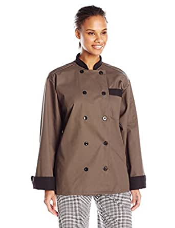 Uncommon Threads Unisex Newport Chef Coat with Black Or Hounds tooth Trim, Olive/Black, X-Small