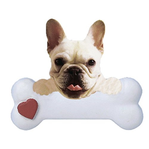 Personalized French Bulldog Christmas Ornament for Tree 2018 - Frenchie Dog Paws on Bone with Heart - Small Loyal Gentle Best Friend Furever Playful Athletic Fluffy White Cream- Free Customization
