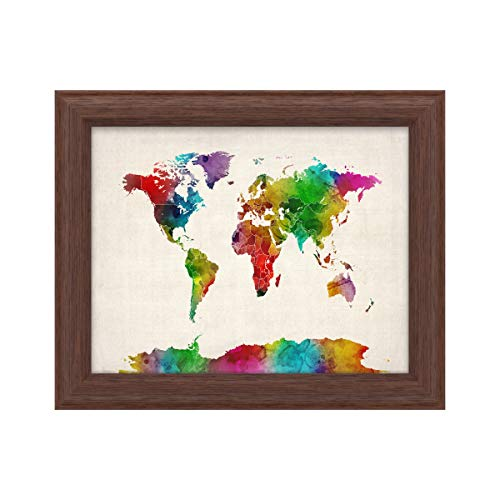 Trademark Fine Art Watercolor World Map II by Michael Tompsett, Wood Frame 11x14, Multi-Color