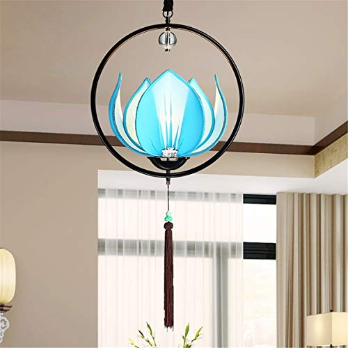 New Chinese Lotus lamp Chandelier Antique Restaurant Wrought Iron Lotus lamp Featuring Corridor Fabric Lotus lamp, Suitable for Living Room, Study, Bedroom