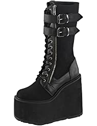 Summitfashions Womens Lace up Wedges Knee High Boots Black Platform Shoes 5 1/2 inch Wedge