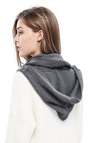 Winter Soft Pullover Knit Infinity Scarf Beanie Hoodie Scarf