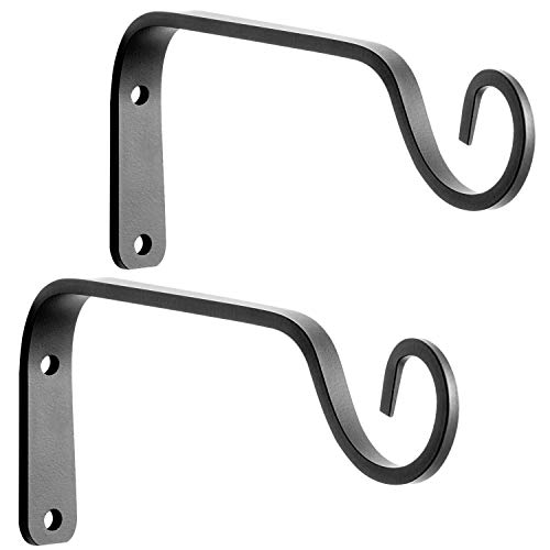 VEEBOOD ZW-01 2Pcs 7-Inch Decorative Metal Hanging Plant Hangers Brackets Outdoor Indoor Iron Wall Straight Hooks for Lanterns Planters, Black