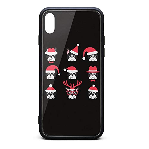 Best Phone Case for iPhone X Christmas French Bulldogs with Santa Hats Rubber Frame Tempered Glass Covers Personality Shock-Absorption Skid-Proof Never Fade Cell Cases Fancy