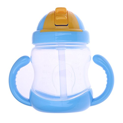 Price comparison product image 280ml Cute Baby Kids Drinking Water Straw Handle Bottle mamadeira-Blue