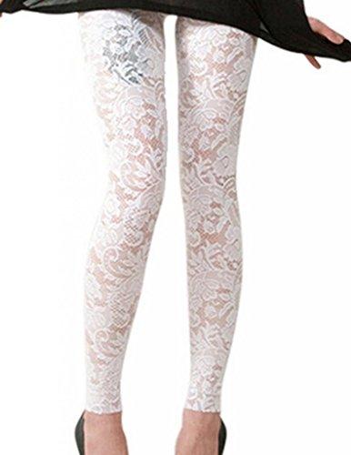 WIIPU white lace female leggings Skeleton charming pants (AL19)- Medium white