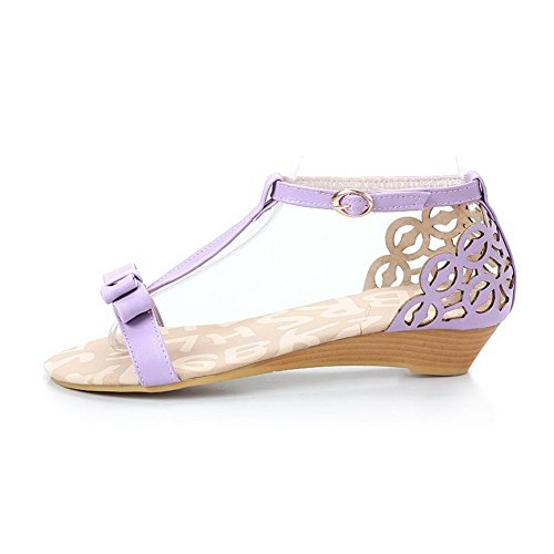AllhqFashion Women's Open Toe Low-heels Soft Material Solid Buckle Wedges-Sandals Purple uHoCYlk