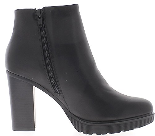 ChaussMoi Black Boots Lined Heel Block of 9 cm Leather Look 2ynJWa3G