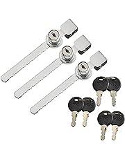 Glazen kast Lock Showcase Lock schuifdeur slot met 2 sleutels Display Case Lock 3 stuks voor deur beveiliging tellers, glazen deur, cilinderslot, kast deursloten voor laden (dezelfde sleutel)