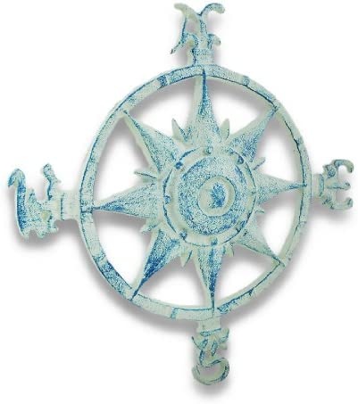 Things2Die4 Iron Wall Sculptures Weathered Blue And White Cast Iron Compass Rose Wall Hanging 11 X 11.5 X 1 Inches Blue